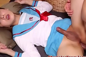 Uniformed japanese tgirl banged after blowjob