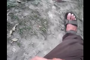 Outdoor Indian Cock jerk and flash