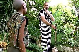 Insidious African miitary doll fucked in the irritant by her prisonner